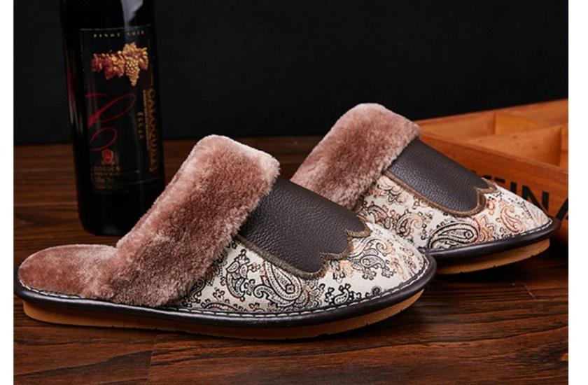 Men's Luxury Fur and Leather Slippers