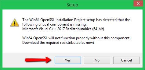 OpenSSL requires Microsoft Visual C++ 2017