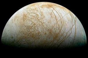 Europa, Jupiter's foruth largest moon with blue and brown marks