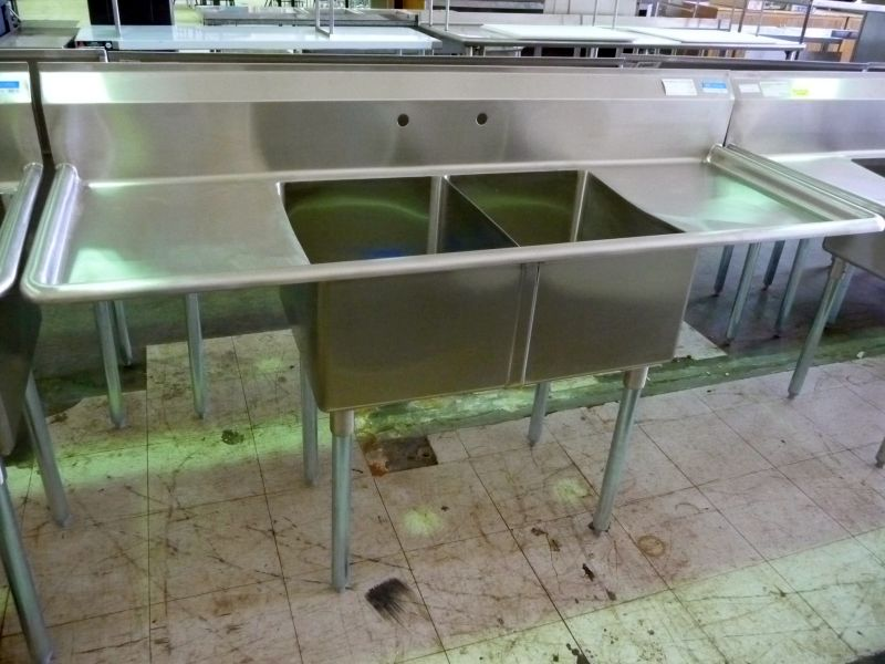 double compartment SS sink with double drainboards  The