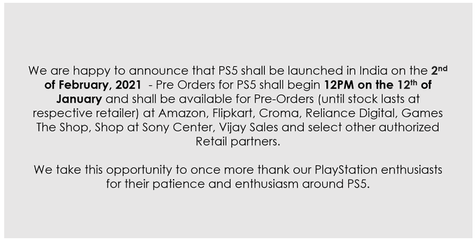 Playstation India Tweet for PS5 Release date and PS5 Preorder in India