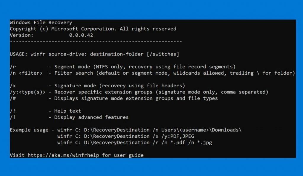 استعادة الملفات المحذوفة windows file recovery