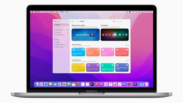 The new version of macOS Monterey also brings the Shortcuts app