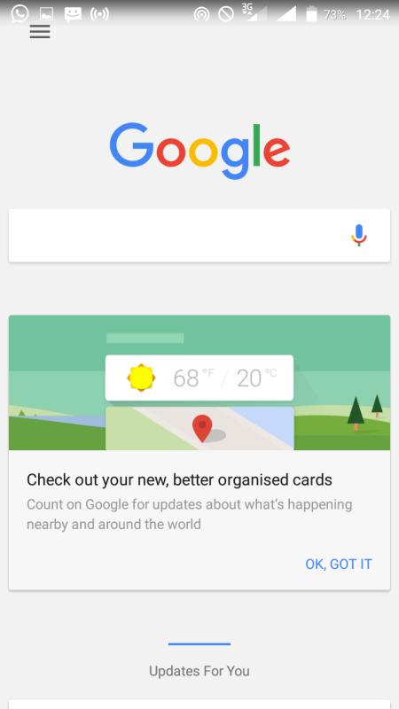 Google Now Landing