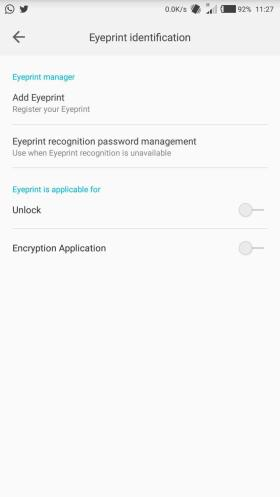 TECNO Camon C9 Eyeprint verification