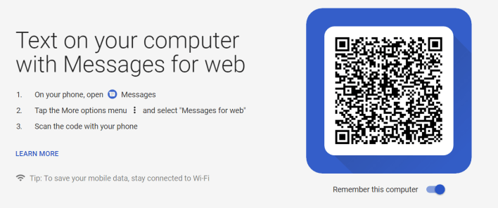 Android Messages Website