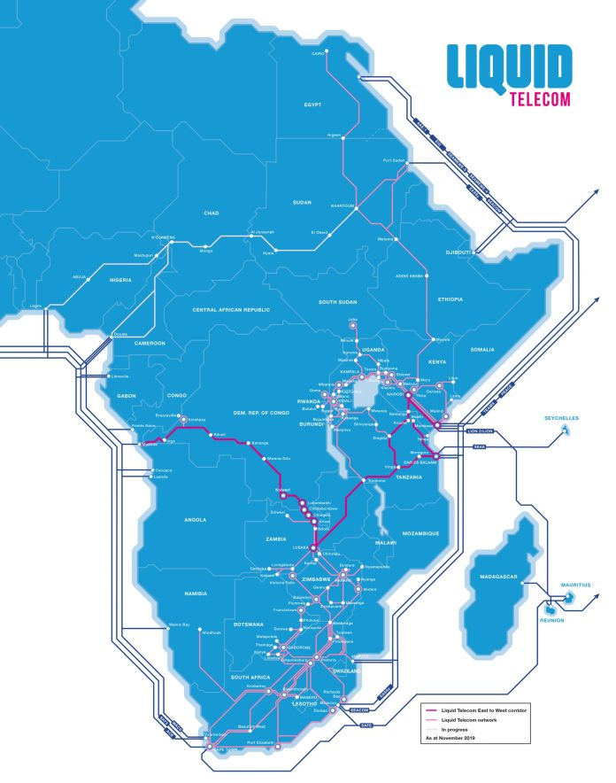 Liquid Telecom Fibre from East to West Africa