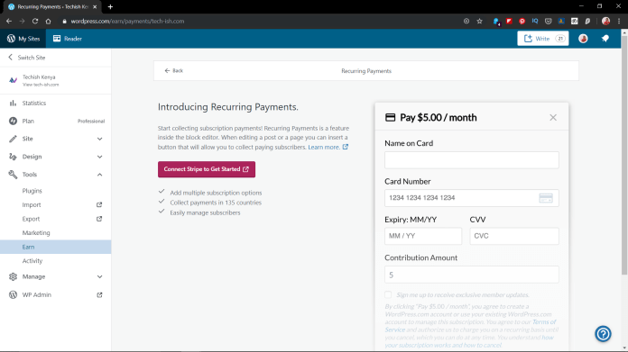 WordPress Recuring Payments Stripe