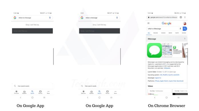 Google Crash iMessage