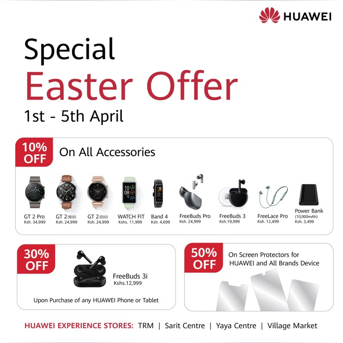 Huawei Mobile has announced it will be running a 5-day campaign that will be offering discounts on a range of their products. These offers can be found at Huawei Experience stores in Nairobi. These stores are in Sarit Centre, Yaya Centre, Village Market, and Thika Road Mall.