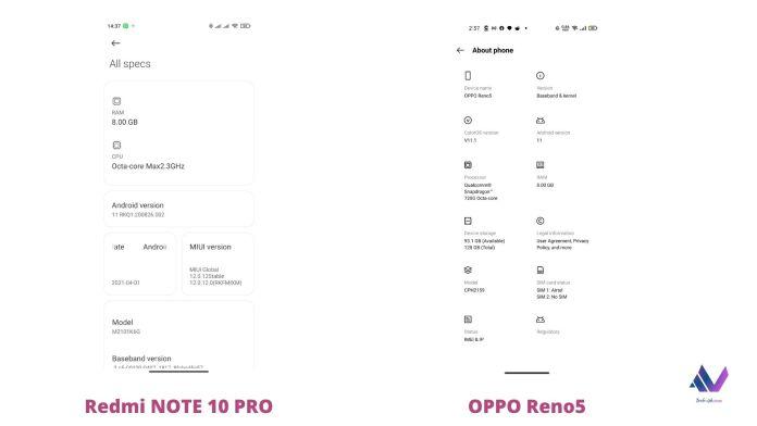 Redmi NOTE 10 PRO vs OPPO Reno5; Which is better?