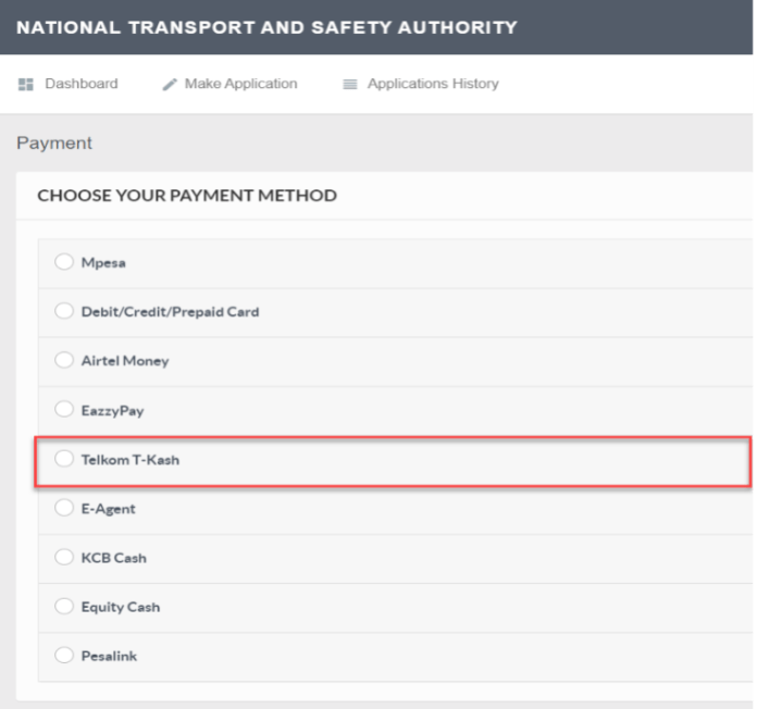 How to pay for NTSA services using T-Kash