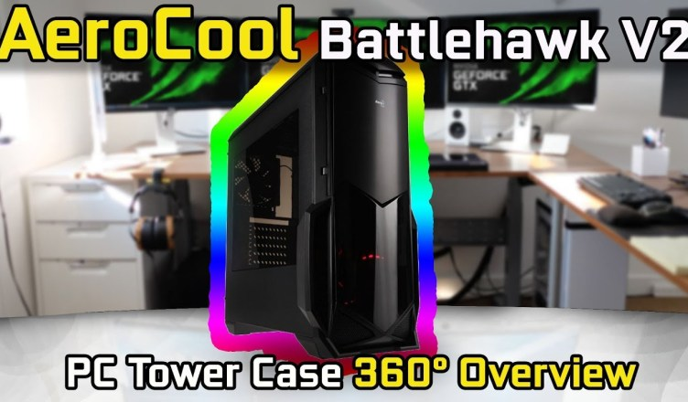 AeroCool Battlehawk V2 Mid Tower Case with Side Window 360° Overview (No Commentary)