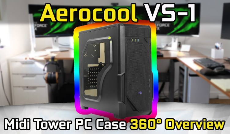 Aerocool VS-1 Midi Tower PC Case with Window 360° Overview (No Commentary)