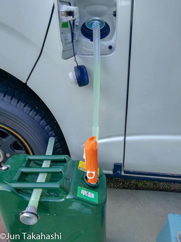 灯油ポンプで軽油を給油してみる