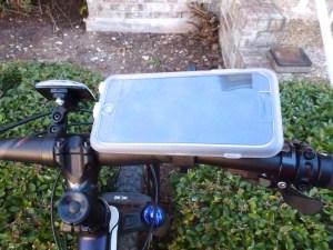 Bike Mount with MountCase 2: Mounted with RainGuard Installed