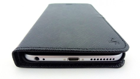 Story Leather Saffiano Leather Side Flip Case for iPhone 6 Plus in Black- Front Bottom Closed View