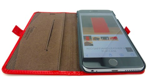 Story Leather Saffiano Leather Side Flip Case for iPhone 6 Plus in Red- Open View