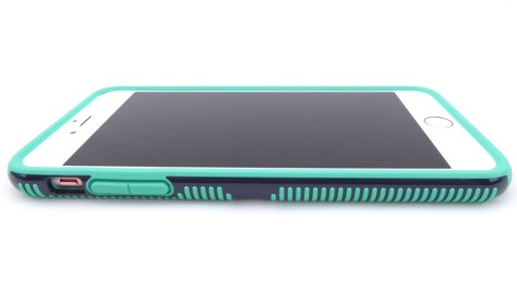 Speck CandyShell Grip in Charcoal Grey-Dragon Green for iPhone 6s Plus- Volume Button Side View