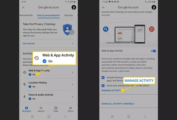 How to set the Auto Delete feature for Google Web activity