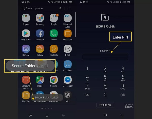 Lock apps on Android using Samsung Secure Folder feature