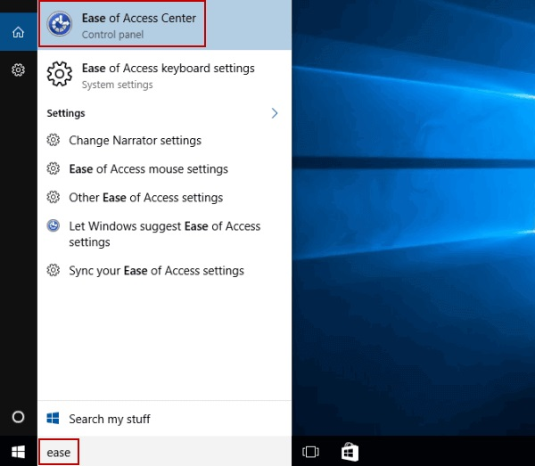 Ease Of Access in Windows 10