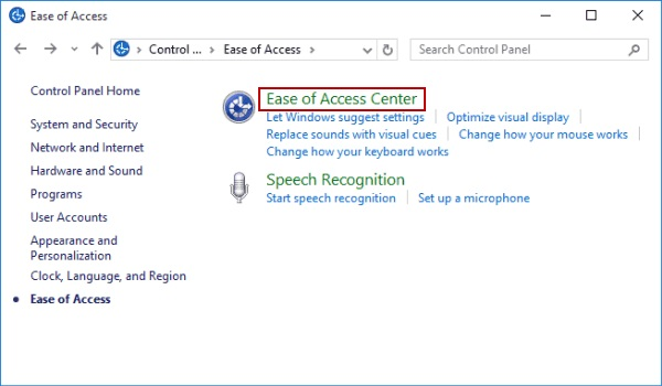 Easy access in Windows 10