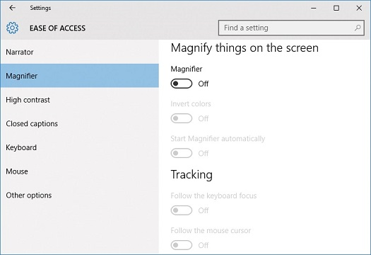 How to make ease of access settings