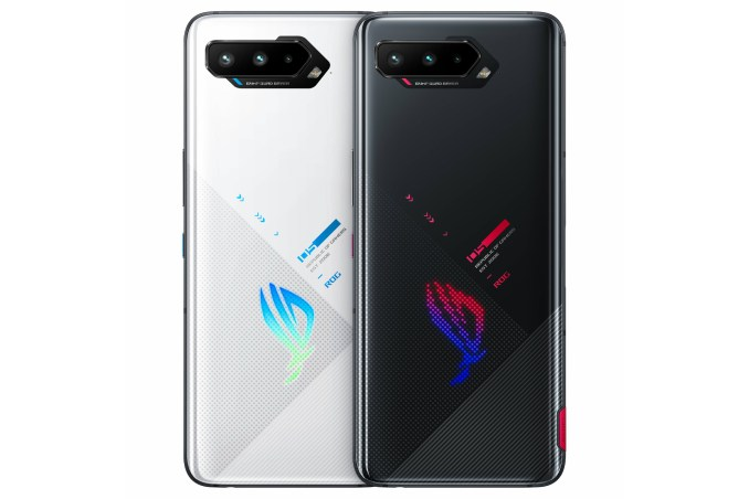 Asus ROG Phone 5 from the back in two colors