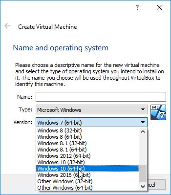 Escolha de Nome para a máquina virtual e Sistema Operativo
