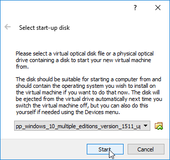 Escolha do ficheiro .ISO
