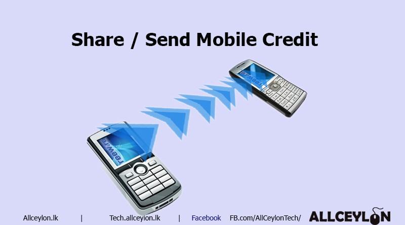 send transfer share credit on your mobile tech allceylon