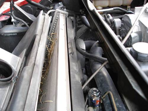 small resolution of removing the radiator cover is simple and allows better access to radiator and a c condenser cover is affixed with two 10 millimeter hex head bolts on each