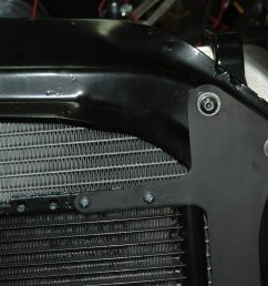 to mount the upper bracket and run them through matching holes into the bracket that holds vintage air condenser in place on the front of the radiator  [ 3008 x 2000 Pixel ]