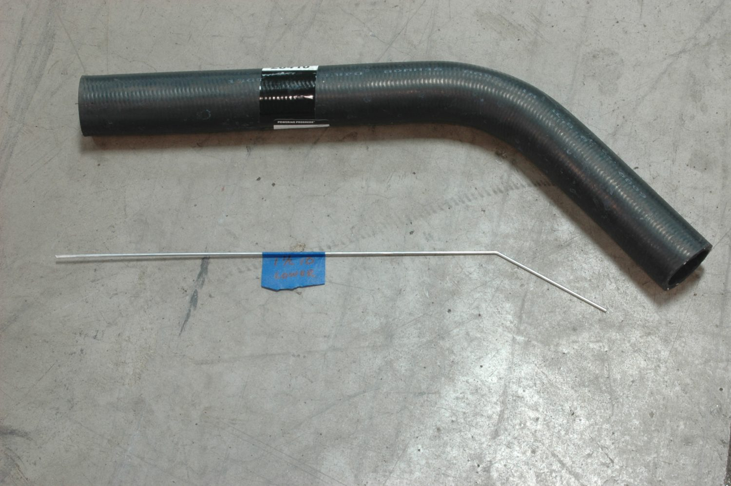 hight resolution of the lower radiator hose since there is no factory option for an ls installed in a 72 stingray we usd a piece of bent wire approximating the path and