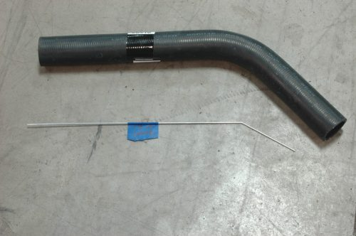 small resolution of the lower radiator hose since there is no factory option for an ls installed in a 72 stingray we usd a piece of bent wire approximating the path and