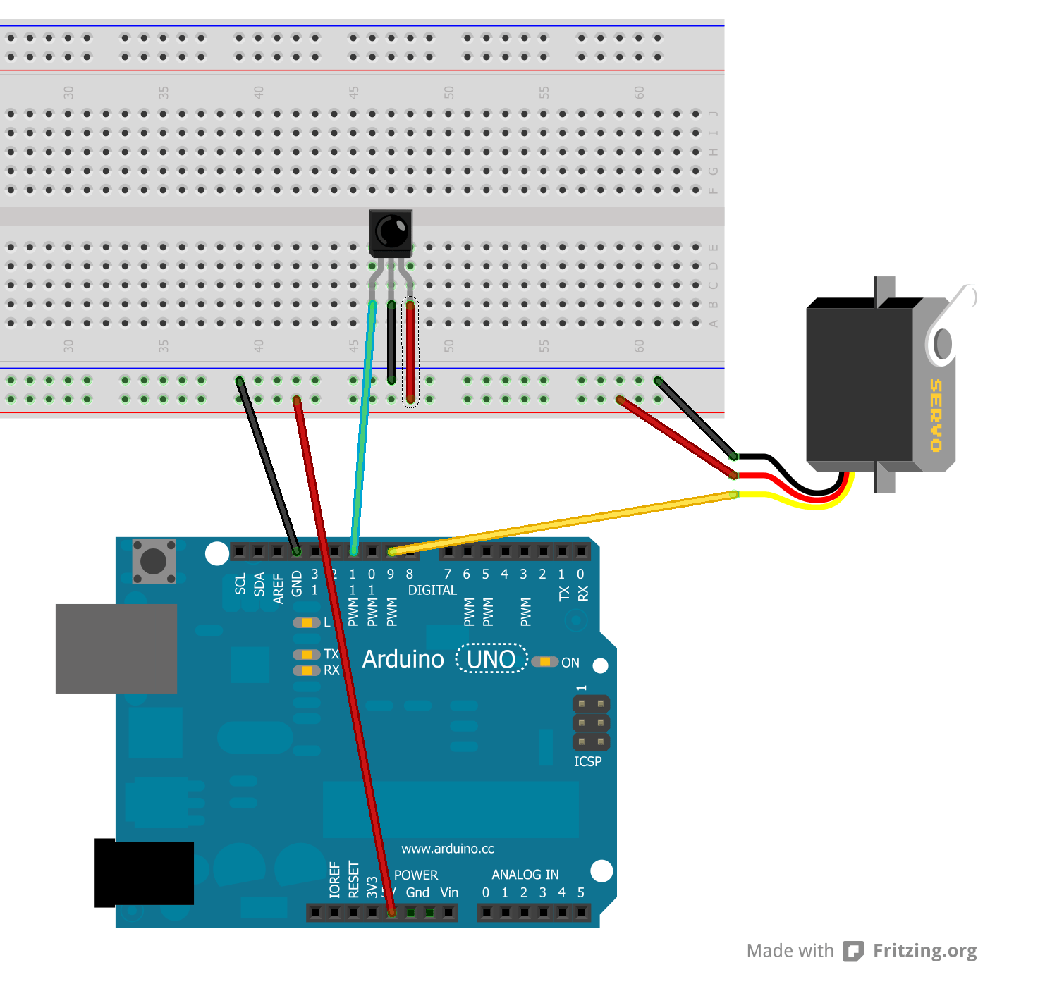 hight resolution of hardware set up for ir servo control demo