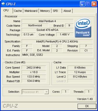 CPU-Z processor result screenshot
