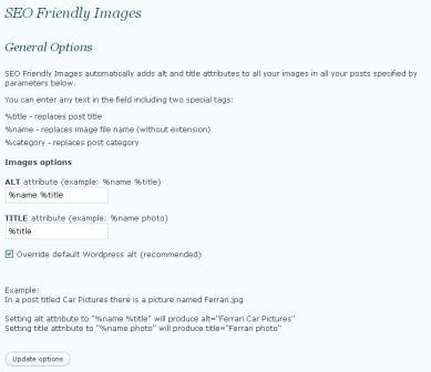 SEO friendly images control panel screen shot