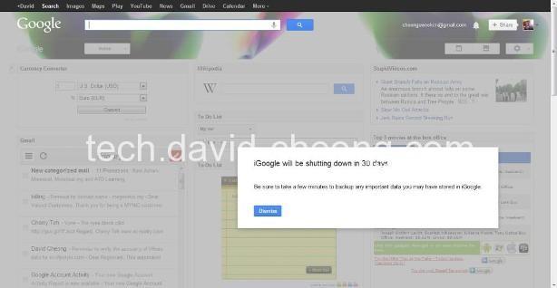 iGoogle Closing Annoucement