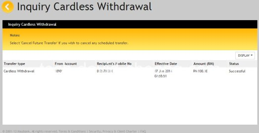 Cardless withdrawal success page