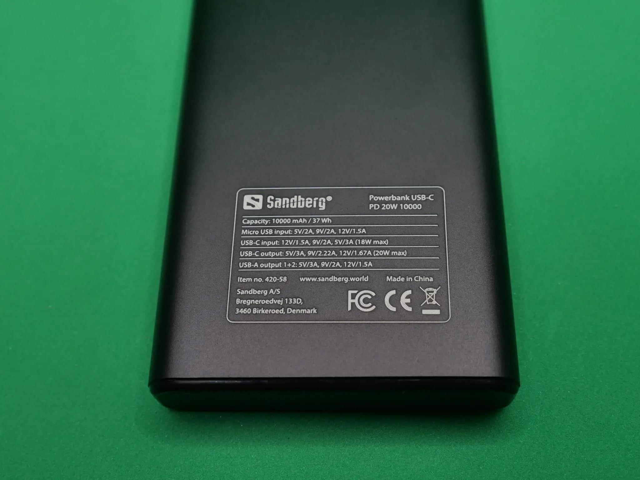 Powerbank Sandberg USB-C PD 20W 10000 charging mode