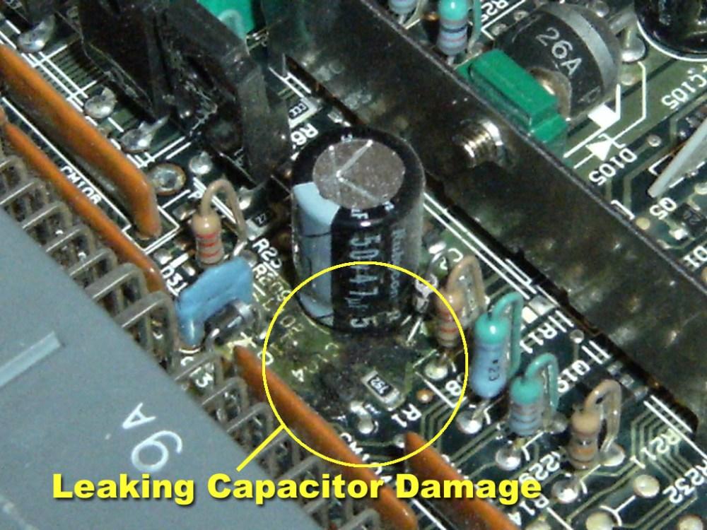 medium resolution of leaking capacitor on a mitsubishi ecu board