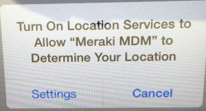 Meraki setup - YES, allow Meraki to determine your location. That is a critical feature of the app and our network.