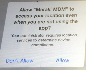 YES, allow Meraki to work even if not using the app. ALLOW.