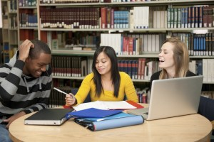 Students in the library.