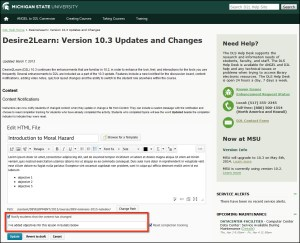Screen capture of informational web page detailing D2L version 10.3 updates.