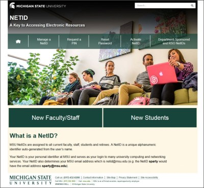 A screen capture of the redesigned MSU NetID site at netid.msu.edu.