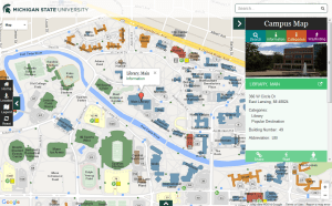 Screen capture of the location features used in the online MSU Campus Map.