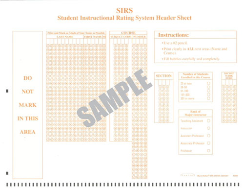 Image of SIRS Header Sheet bubble form